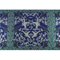 *2 3/4 YD PC--Teal/Blue Bird Floral Print Crepe