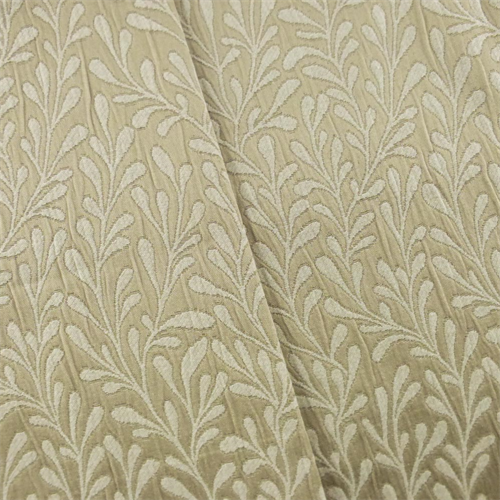 8 Yard Piece -Beige/Ivory Leaf Jacquard Home Decorating Fabric ...
