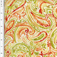 *12 YD PC--Designer Cotton Green/Orange Paisley Print Home Decorating Fabric