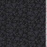 *5 3/8 YD PC--Black/Grey Stylized Floral Chambray