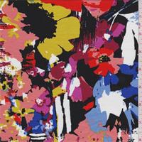*3 YD PC--Black Multi Modern Floral Print Rayon Jersey Knit