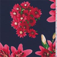*3 1/2 YD PC--Dark Blue/Coral Pink Floral Bouquet Hammered Crepe