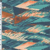 *2 1/8 YD PC--Teal/Burnt Orange Euro Print