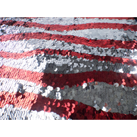 *1 1/2 YD PC--Silver/Red Stripe Sequin Mesh