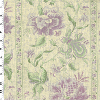 *4 YD PC--Purple/Green Floral Stripe Print Linen Decorating Fabric