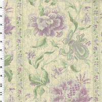 *4 YD PC--Purple/Green Floral Stripe Print Linen Decorating Fabric