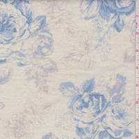 Ecru/Blue/Taupe Shabby Chic Floral Linen