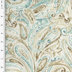 2 YD PC - Designer Cotton Brown/Teal Paisley Print Home Decorating ...