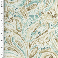 *2 YD PC - Designer Cotton Brown/Teal Paisley Print Home Decorating Fabric