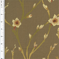 *6 1/2 YD PC -Designer Floral Cotton Print Brown Home Decorating Fabric