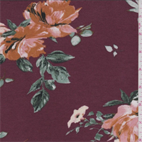 *2 5/8 YD PC--Maroon Floral Rayon Jersey Knit