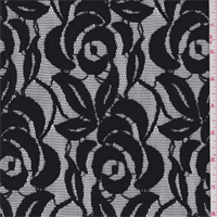 *2 1/2 YD PC--Black Floral Nylon Lace