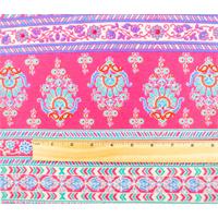 *2 3/8 YD PC--Pink/Multi Paisley Stripe Print Jersey