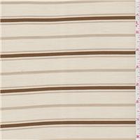 *1 YD PC--Tan Stripe Rayon Pique