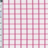 *2 7/8 YD PC--White/Berry Pink Windowpane Check Cotton Shirting