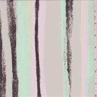 *1 3/4 YD PC--Taupe/Pink/Mint Brushstroke Stripe Crepe de Chine