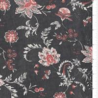 Black/Rust Red Stylized Floral Mesh