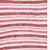 Pink/Red/White Stripe Slubbed Sweater Knit