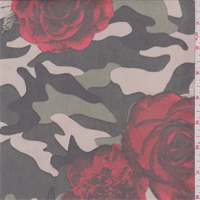 *3 YD PC--Olive/Red/Beige Floral Camo Stretch Mesh