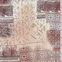 *7/8 YD PC--Beige/Sienna Scroll Tile Georgette
