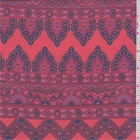 *2 5/8 YD PC--Fuchsia/Orange Morrocan Stripe Print Chiffon