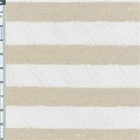 *1 YD PC--Oatmeal/White Stripe Drop-Needle Hatchi Sweater Knit