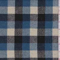 Teal Blue/Ecru/Black Herringbone Check Wool Suiting