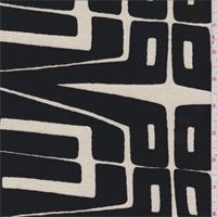 *2 1/2 YD PC--Ecru/Black Modern Print Rayon Jersey Knit