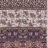 *1 YD PC--Cocoa/Cream Multi Stripe Print Rayon Challis