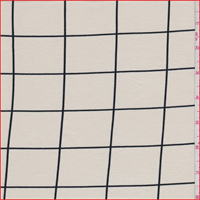 *3 YD PC--Ecru/Black Window Pane Check Tencel Jersey Knit
