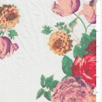 White/Beige/Red Floral Voile