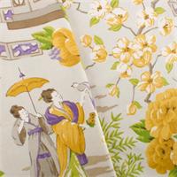 *2 YD PC--Multi P/Kaufmann Japanese Toile Print Home Decorating Fabric