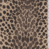 *1 1/4 YD PC--Tan/Brown Leopard Print Polyester Crepe