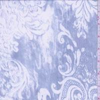 Ocean Blue/White Scroll Silk Chiffon