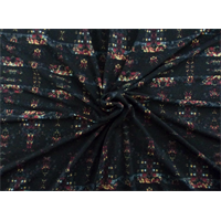 *2 YD PC--Black/Multi Print ITY Jersey Knit