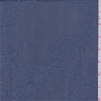 *1 YD PC--Steel Blue Embroidered Floral Silk Habotai