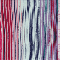 *4 1/4 YD PC--Red/Green/Lilac Multi Stripe Rayon Crepon