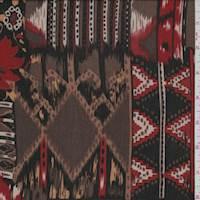 *2 YD PC--Brown/Red Southwest Block Print Rayon Challis