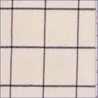 *5 5/8 YD PC--Ivory Windowpane Wool Suiting