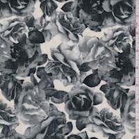 Cream/Grey Floral Velveteen