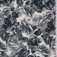 Cream/Grey Floral Velveteen