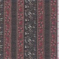 *3 1/2 YD PC--Black/Red Floral Wallpaper Stripe Chiffon