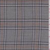 Stone Grey Plaid Wool Suiting