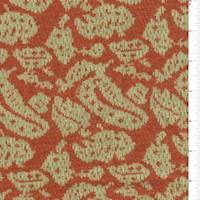 *1/2  YD PC--Orange/Sage Paisley Jacquard Sweater Knit