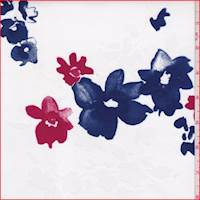 White/Blue/Red Floral Twill Shirting