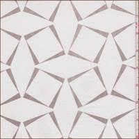 White/Taupe Square Print Voile