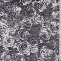Slate Black Rose Print Rayon Jersey Knit