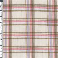 *3 1/8 YD PC--Ivory/Bronze Plaid Crinkle Gauze