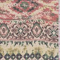 *3 1/2 YD PC--Beige/Red Aztec Print Chiffon