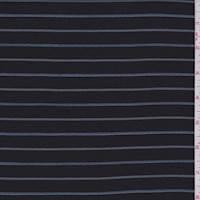 Black/Blue/Mint Stripe Gabardine Twill